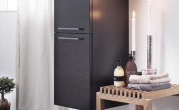 Bathroom storage YK5 4870.High bathroom cabinet in black oak