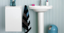 Bathroom storage YS1 A671.Glossy White, left-hung door