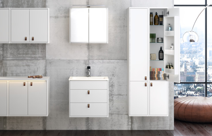 Bathroom furniture, bathroom cabinets and bathroom storage - white, Graphic - Gustavsberg
